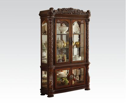 Picture of Vendome  Cherry Curio Cabinet with Mirror Back