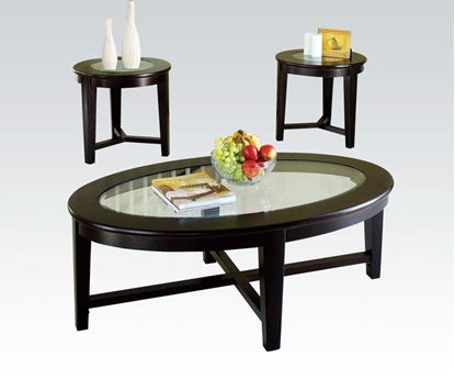 Picture of Espresso Finish 3 Pcs. Glass Top Coffee End Table Set