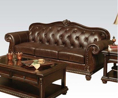 Picture of Anondale Traditional Top Grain Leather Cherry Sofa