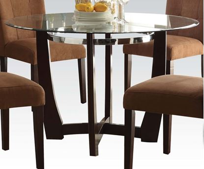 Picture of Contemporary Round Glass Top Dining Table