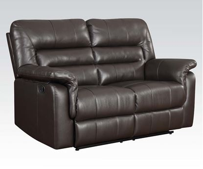Picture of Modern Dark Brown Bonded Leather Motion Loveseat