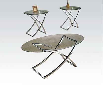 Picture of Glass Top 3pc Coffee/End Table Set