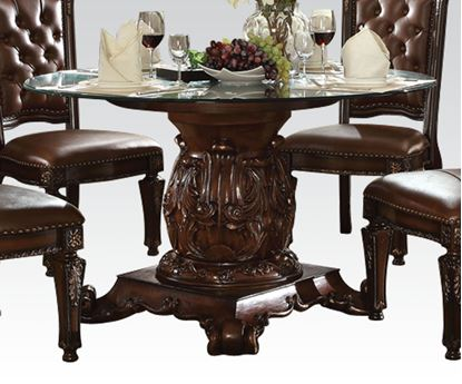 Picture of Vendome Cherry Round Glass Top Dining Table
