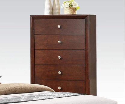 Picture of Contemporary ilana Brown Cherry Finish Wood Drawers Chest