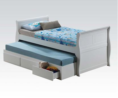 Picture of Nebo White Wave Shaped Twin Captain Bed with 3 Drawer Trundle