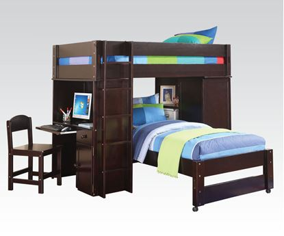 Picture of Lars Collection Wenge Finish Twin Loft Bed with Bottom Bed