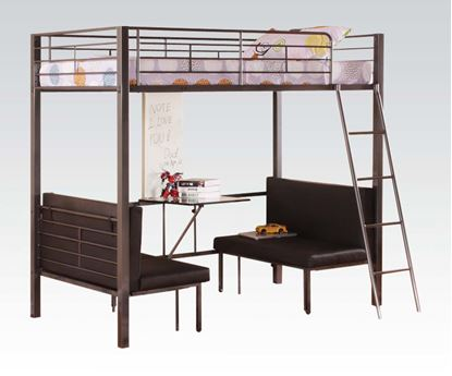 Picture of Modern Gun Metal Black PU Loft Bed with Adjustable Seat and Desk