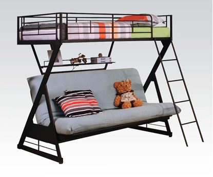 Picture of Sandy Black Twin over Futon Bunk Bed with Bookshelf