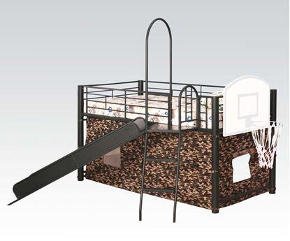 Picture of Modern Green Loft Bed w/Slide & Ladder