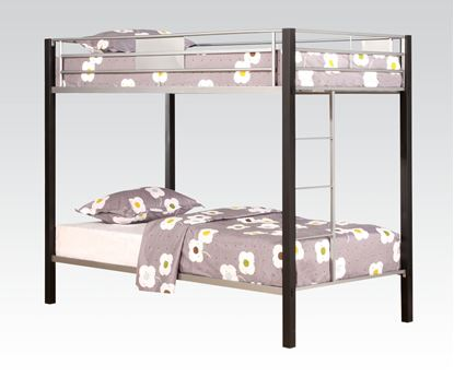 Picture of Modern Silver Brown Coffee Twin Twin Bunk Bed