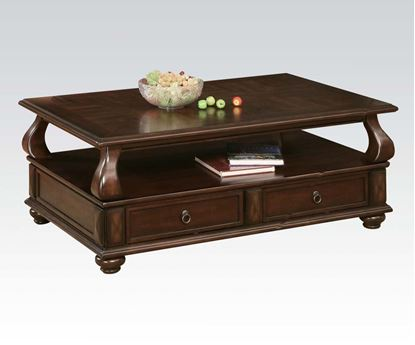 Picture of Amado Espresso Wood Coffee Table with Storage Drawers