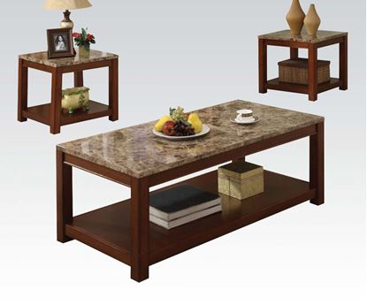 Picture of Bologna Faux Marble Top 3 PCs. Coffee and End Table Set