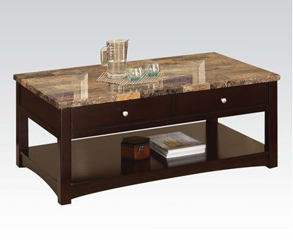 Picture of Jas Espresso Faux Marble Top Coffee Table with 2 Drawers