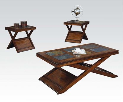 Picture of Benicia Dark Oak Slate 3PC Pack Coffee / End Table Set