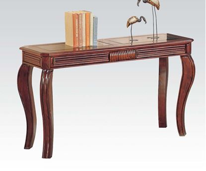 Picture of Furniture Overture Cherry Sofa Table with Square Center Glass Top
