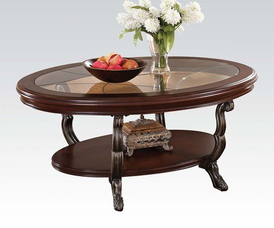 Bavol Cherry Oval Shaped Coffee Table With Gl Insert