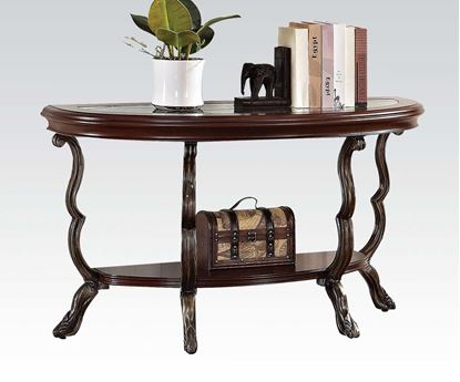 Picture of Bravo Sofa Table in Cherry Finish with Glass Insert