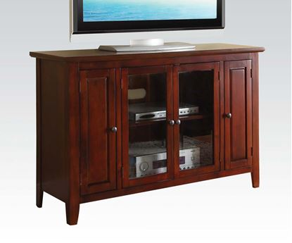 Picture of Vida Contemporary Cherry Finish Wood TV Stand w/ Glass Front Cabinet