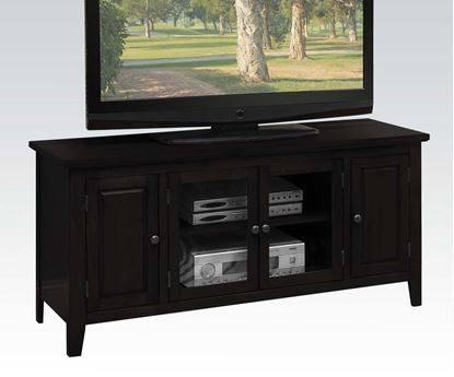 Picture of Christella Contemporary Black TV Stand w/ Glass Front Cabinet