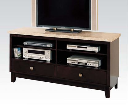 Picture of Britney White Marble Top TV Stand Entertainment Console with 2 Drawers