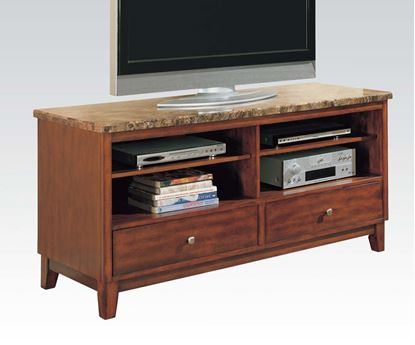 Picture of Contemporary Cherry Marble Top Entertainment TV Console