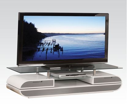 Picture of Lainey Glass Top TV Stand in White & Grey