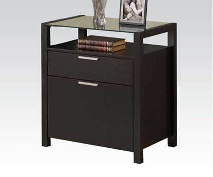 Picture of Loakin Glass Top Wenge File Cabinet