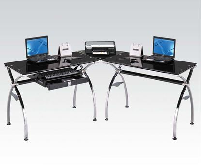 Picture of Kayce Chrome Metal & Black Tempered Glass Finish Computer Desk Set