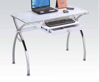 Picture of Retro Computer Desk with White Tempered Glass Top