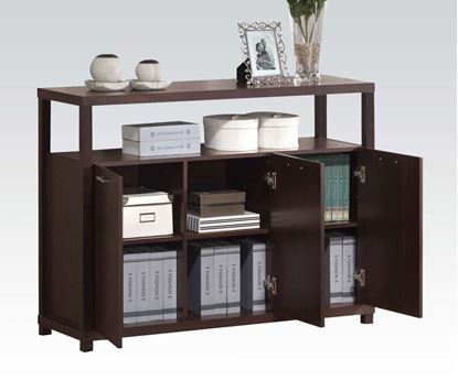 Picture of Contemporary Espresso Executive Cabinet  With 3 Doors and Open Shelf