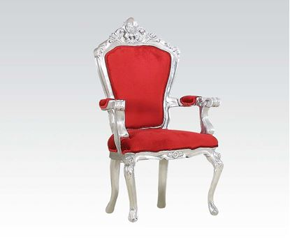Picture of Silver Accent Chair W/Red Fabric
