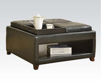 Picture of Dark Brown PU Reversible Ottoman with Four Trays and Open Shelf