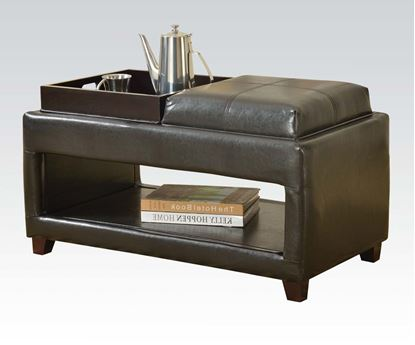 Picture of Dark Brown PU Reversible Ottoman with Two Trays and Open Shelf