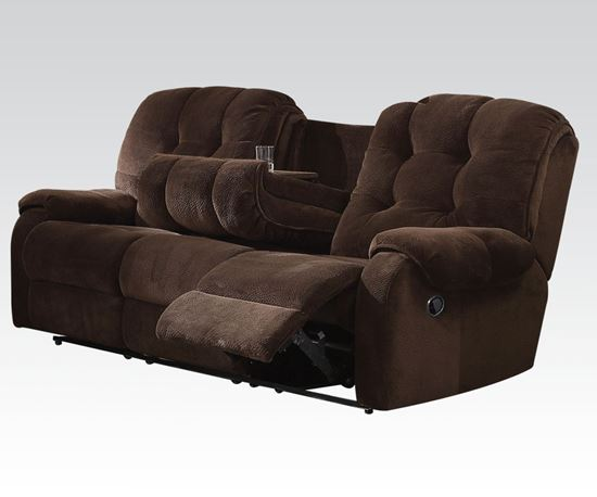 Picture of Nailah Motion Sofa in Chocolate Fabric