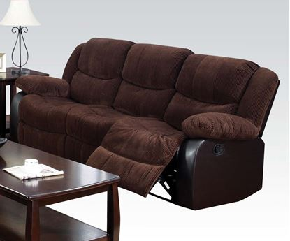 Picture of Bernal Chocolate Corduroy & PU Recliner Sofa