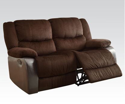 Picture of Bernal Chocolate Corduroy & PU Recliner Loveseat