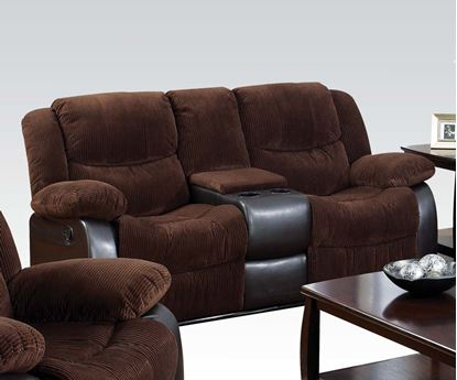 Picture of Bernal Chocolate Corduroy & PU Recliner Loveseat w/Console
