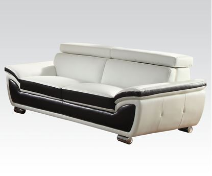 Picture of Olina White/Coffee Bonded Leather Match Sofa