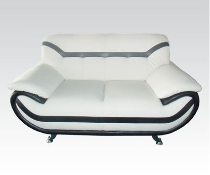 Picture of Modern Rozene White Black Bonded Leather Sofa