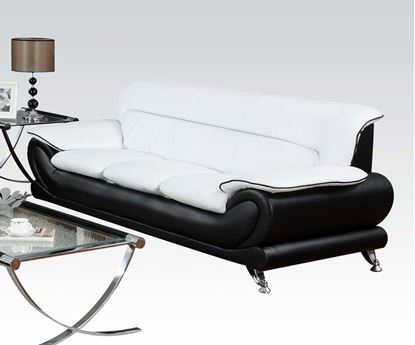 Picture of Orel Black White Bonded Leather Sofa