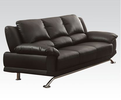 Picture of Modern Black Bonded Leather Match Sofa