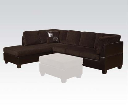 Picture of Connell Chocolate Corduroy Espresso PU Sectional Sofa Set