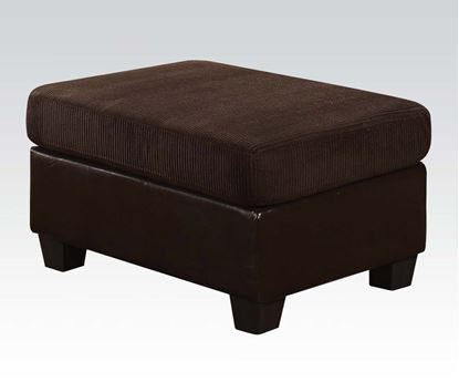 Picture of Connell Chocolate Corduroy Espresso PU Ottoman