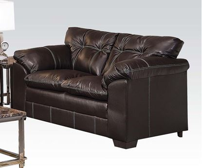 Picture of Contemporary Hayley Onyx  Bonded Leather Upholstered Loveseat