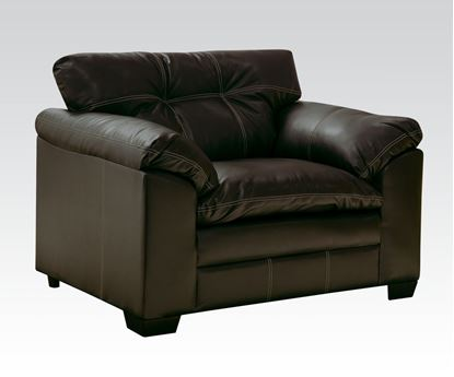 Picture of Contemporary Hayley Chocolate Bonded Leather Upholstered Chair