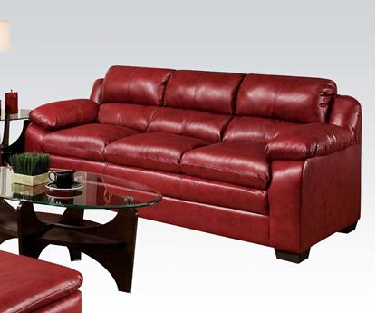 Picture of Contemporary Jeremy Padded Bonded Leather Red Sofa