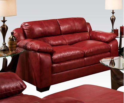 Picture of Contemporary Jeremy Padded Bonded Leather Red Loveseat