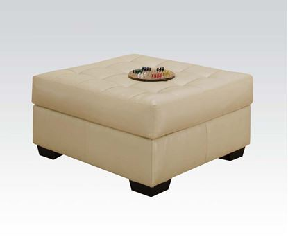 Picture of Natural Bonded Leather Ottoman