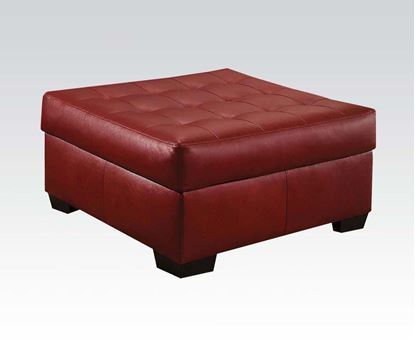 Picture of Bonded Leather Pillow Top Ottoman in Cardinal Finish