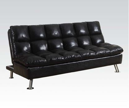 Picture of Modern Black Polish Microfiber Adjustable Sofa Bed